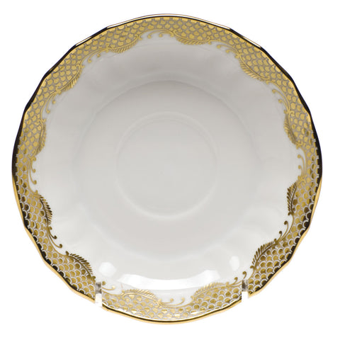 Fish Scale Canton Saucer Gold