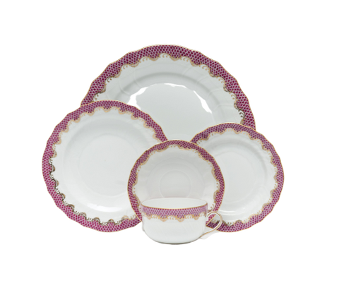 Fish Scale Dinnerware Raspberry