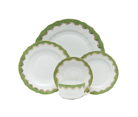 Fish Scale Dinnerware Evergreen