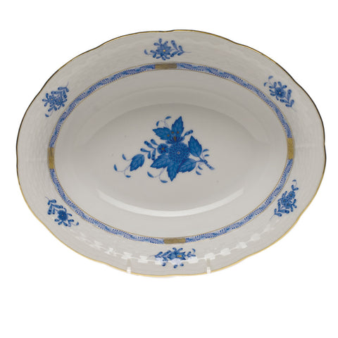 Chinese Bouquet Blue Oval Vegetable Dish