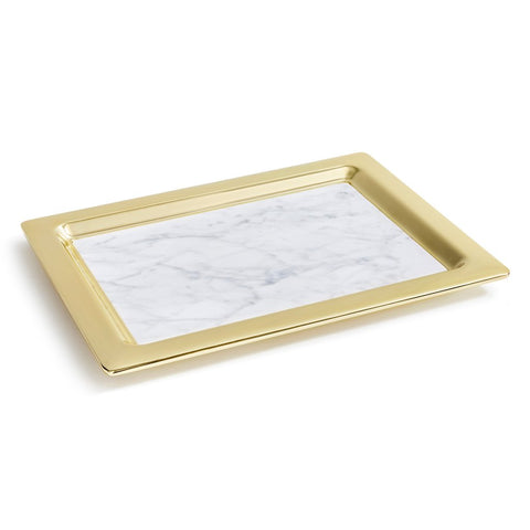 Dual Carrara Marble & Gold Tray