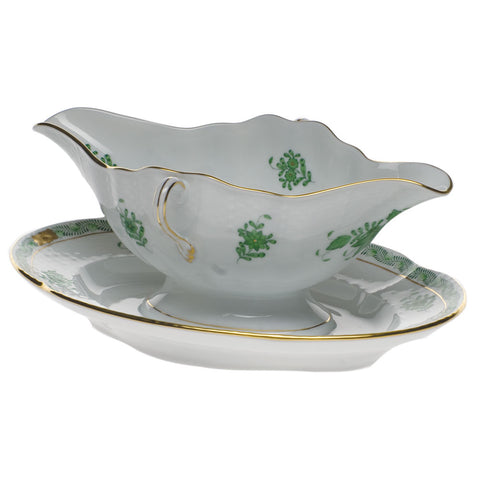 Chinese Bouquet Green Gravy Boat