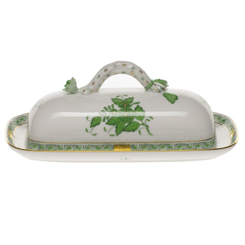 Chinese Bouquet Green Butter Dish w/ Branch
