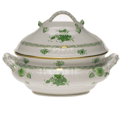 Chinese Bouquet Green Tureen w/ Branch