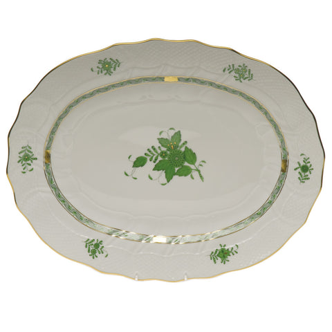Chinese Bouquet Green Oval Platter Large