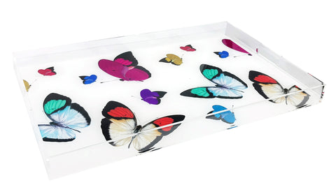 Butterflies Acrylic Rectangular Tray