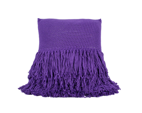 Betty Fringe Pillow Purple