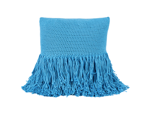 Betty Fringe Pillow Sky Blue