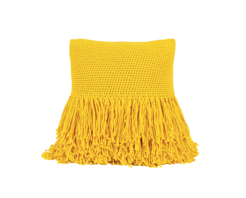 Betty Fringe Pillow Yellow