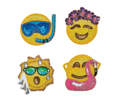 Summer Emojis Coasters, Set of 4