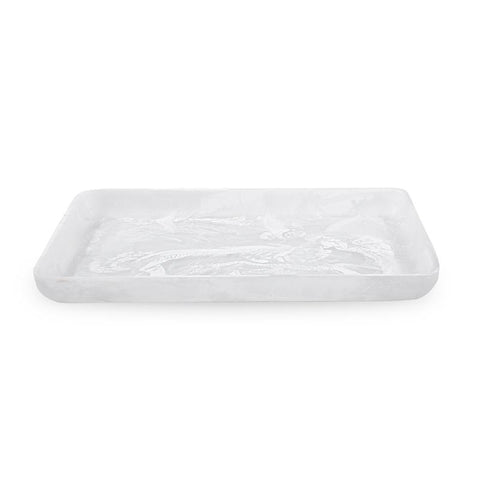White Swirl Rectangular Serving Tray XL