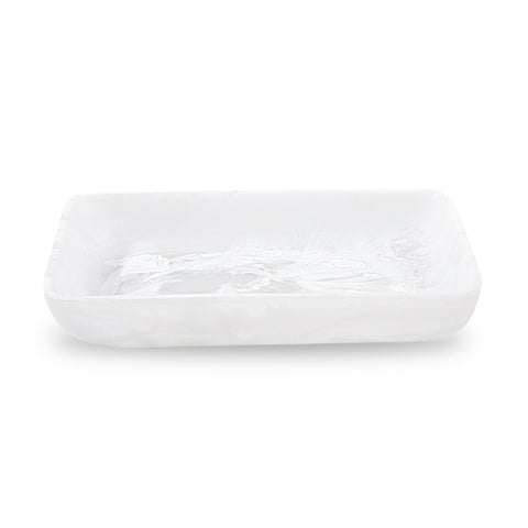 White Swirl Resin Rectangular Serving Tray Small