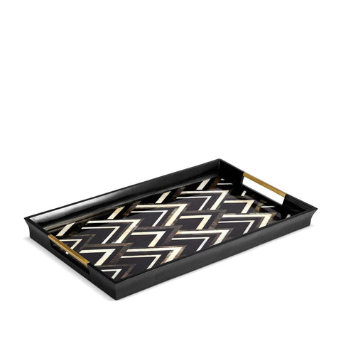 Deco Noir Rectangular Tray Large