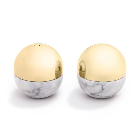 Dual Carrara Marble & Gold Salt and Pepper Shakers