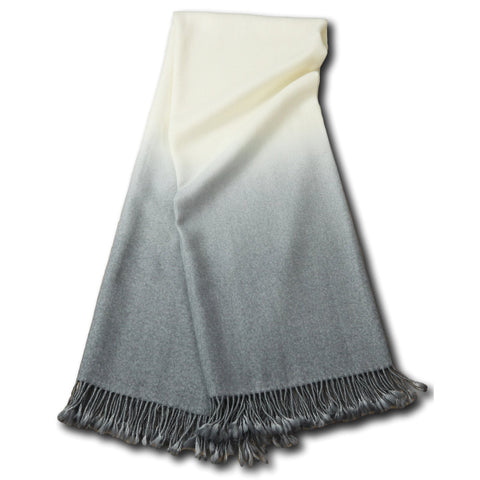 Dip-Dyed Throw Light Grey