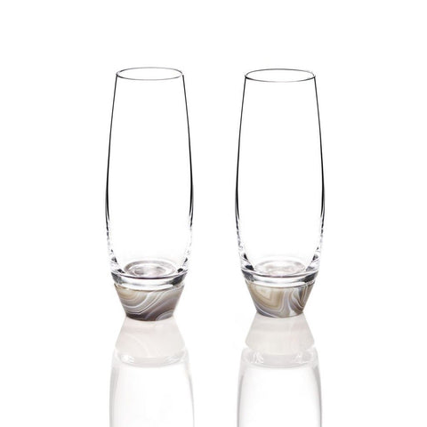 Elevo Champagne Glass Smoke Agate / Crystal, Set of 2