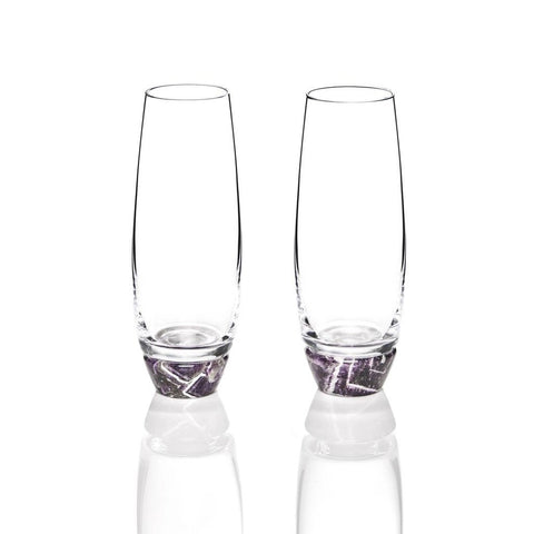 Elevo Champagne Glass Amethyst / Crystal, Set of 2