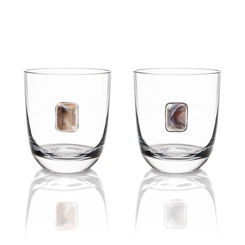 Elevo DOF Smoke Agate / Crystal, Set of 2