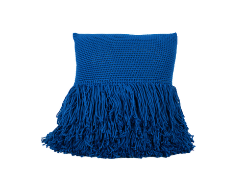 Betty Fringe Pillow French Blue