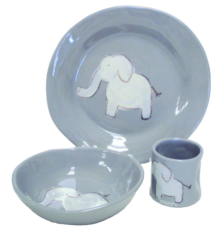 Elephant Character Dish Set Grey