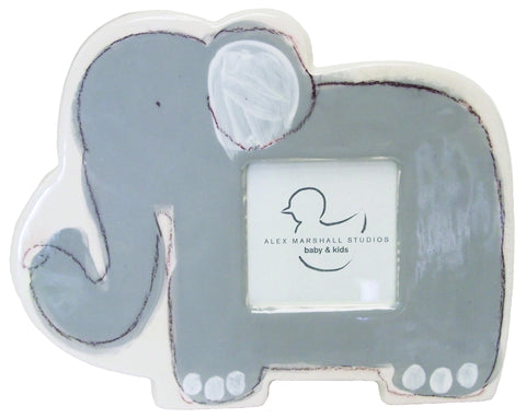 Elephant Picture Frame Grey on White