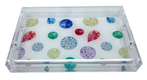 Jewel White Acrylic Vanity Tray