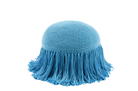 Joni Fringe Pillow Sky Blue
