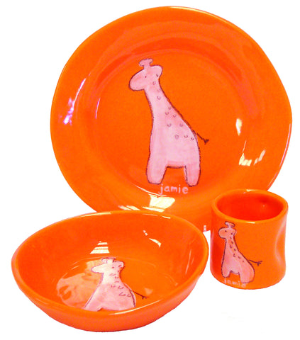 Giraffe Character Dish Set Orange
