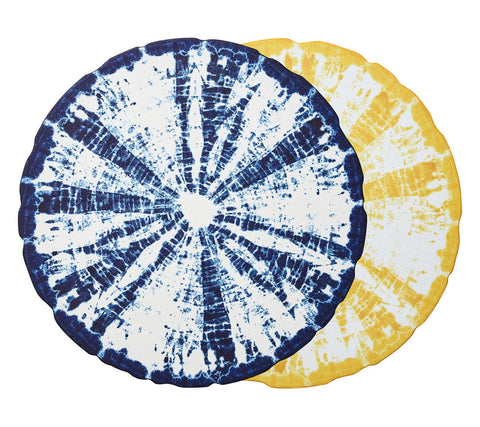 Shibori Reversible Placemat in Blue & Yellow, Set of 4