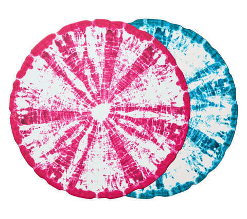 Shibori Reversible Placemat in Turquoise & Pink, Set of 4
