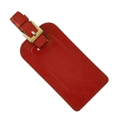 Luggage Red Tag Traditional Leather