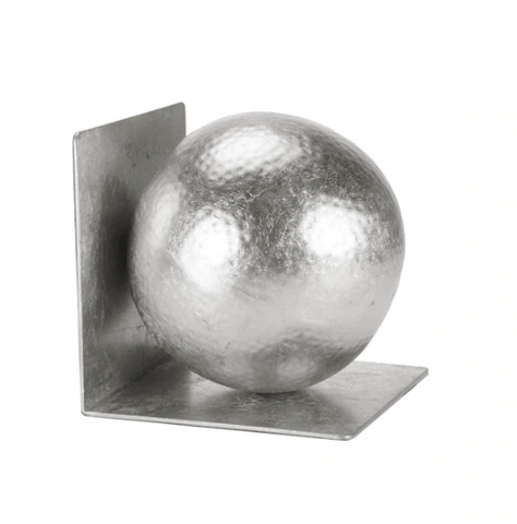 Silver Leaf Hammered Ball Bookend Set
