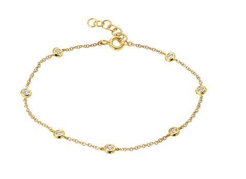 14k Yellow Gold Diamond by the Yard Anklet