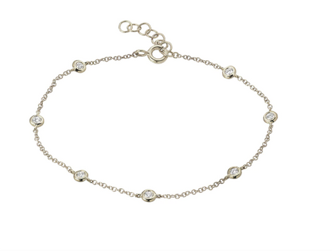 14k White Gold Diamond by the Yard Anklet