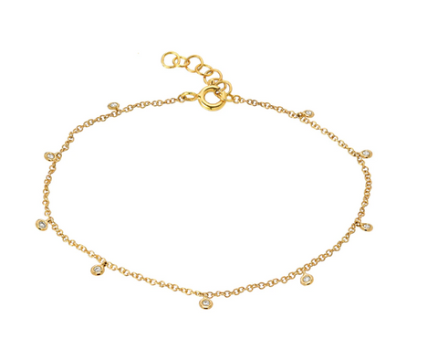 14k Yellow Gold Drop Bezel Anklet