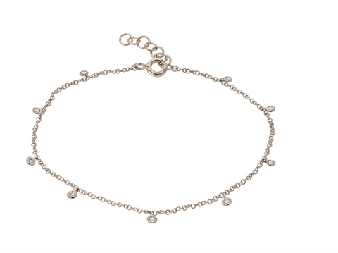 14k White Gold Drop Bezel Anklet
