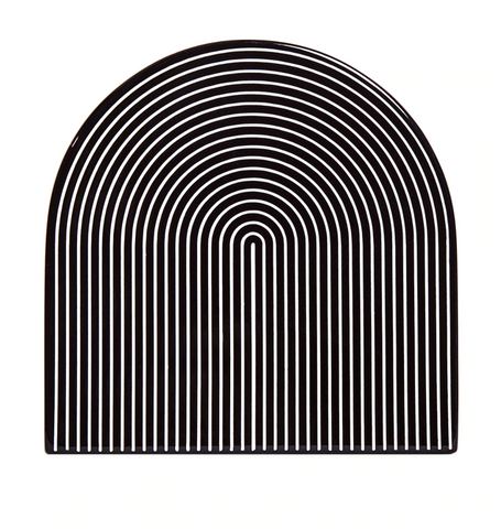 Black & White Lacquer Stripe Coasters, Set of 4