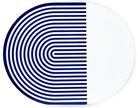 Navy & White Stripes and Solids Lacquer Placemat