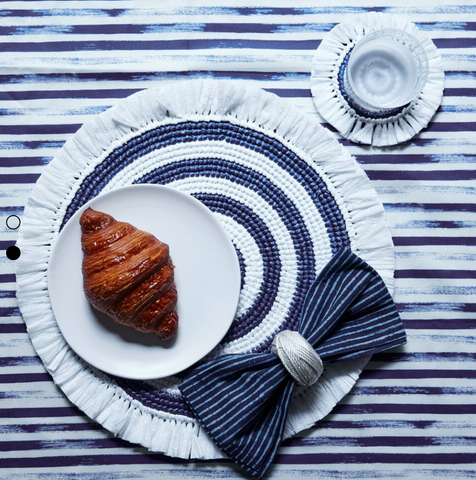 White & Navy Woven Fringe Placemat