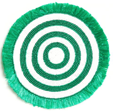 Green & White Woven Fringe Placemat