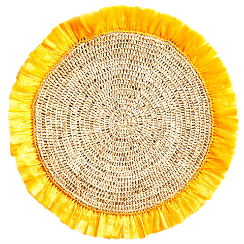 Canary Yellow Woven Rattan Placemat