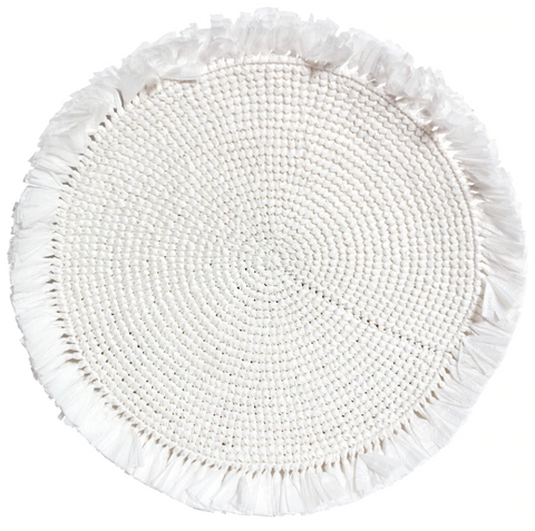 White Woven Fringe Placemat
