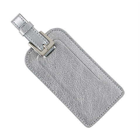 Silver Luggage Tag Metallic Goatskin Leather