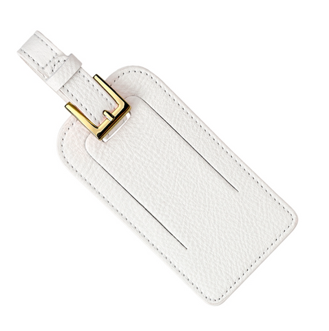 Luggage Tag White Full Grain Leather