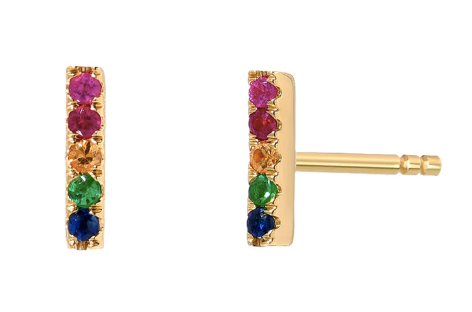 Rainbow Bar Stud Earrings