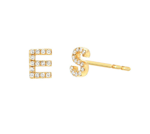 Diamond Initial Stud Earrings