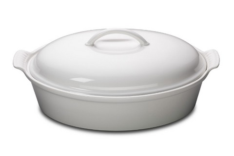 White Heritage 4QT Oval Casserole