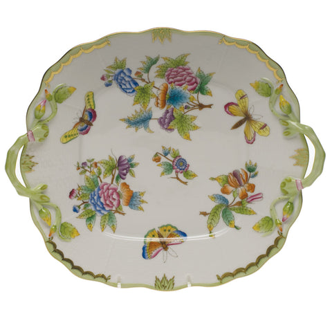 Queen Victoria Green Square Cake Plate w/ Handles