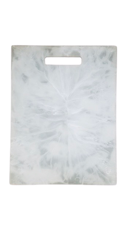 White Swirl Resin Rectangular Chopping Board