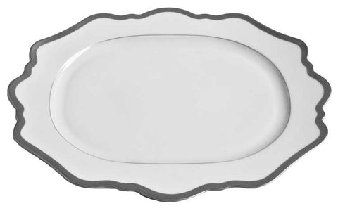 Antique White w/ Brushed Platinum Oval Platter